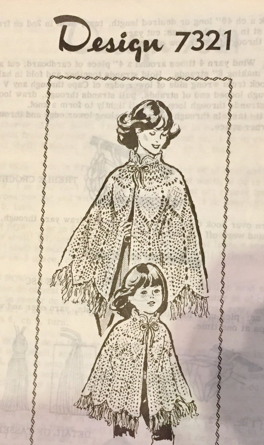 VINTAGE Mail Order Pattern 7321 Mother Daughter Crocheted Capes Ponchos