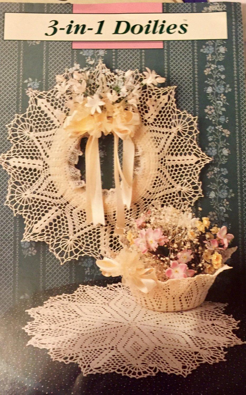 Annie's Attic 3 in 1 Doilies thread Crochet Pattern 8B022 Wreath  Boil Doily Diamond pattern