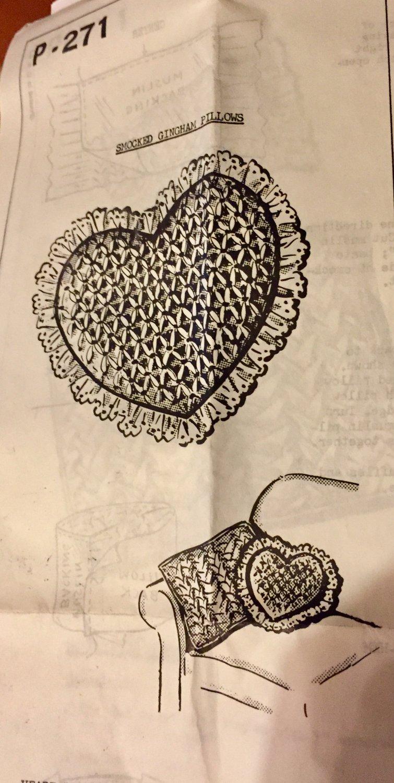 Vintage Mail Order Smocked Gingham Pillow Sewing Pattern 271