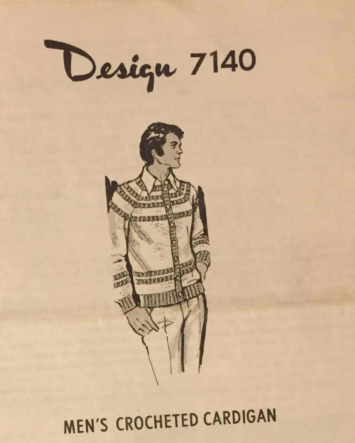 """VINTAGE Mail Order Pattern 7140 Men's  Crocheted Cardigan  sizes 36"""" to 42"""""""