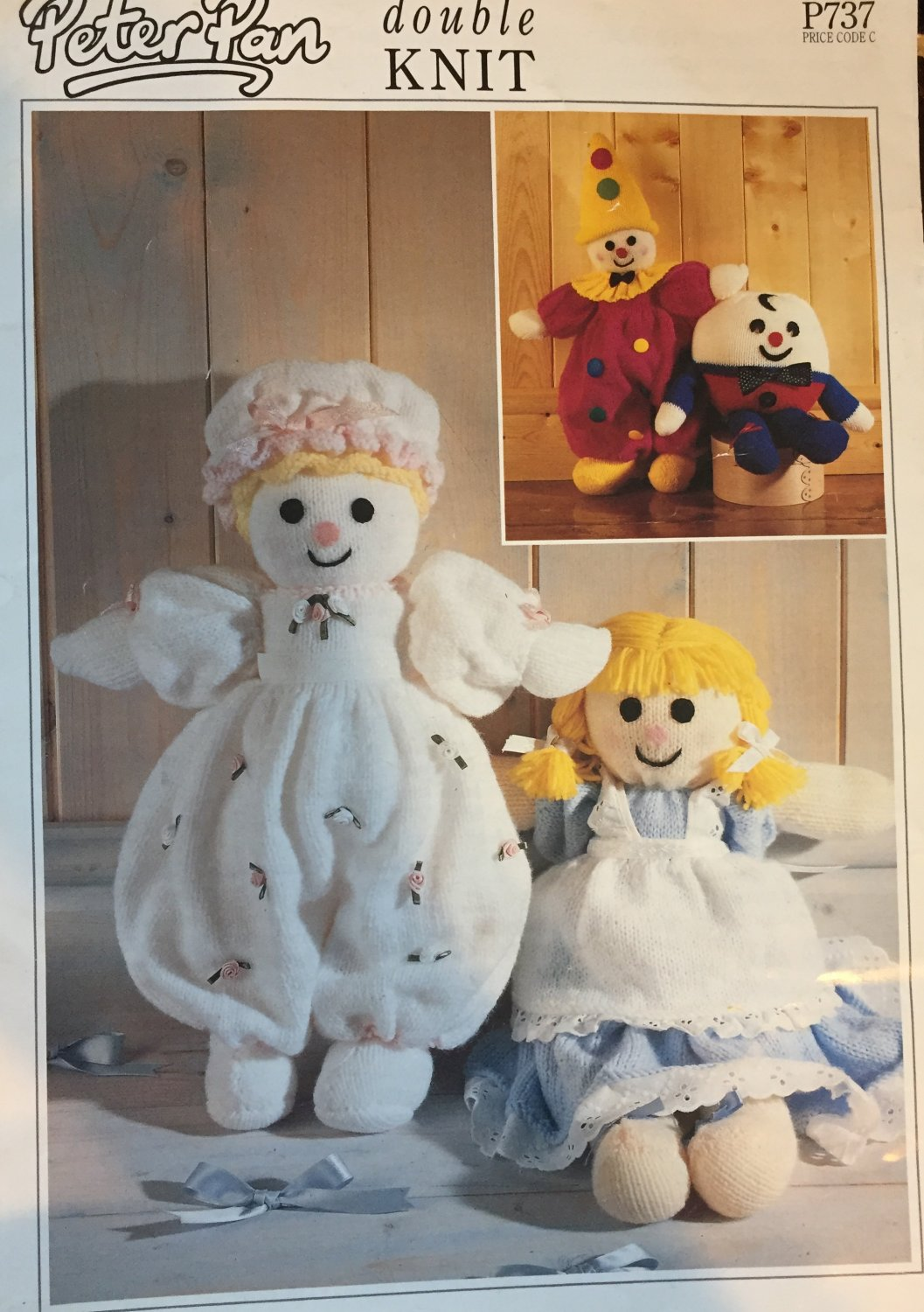 Knitted doll clown and Humpty Dumpty  Peter Pan Double Knit Pattern P737