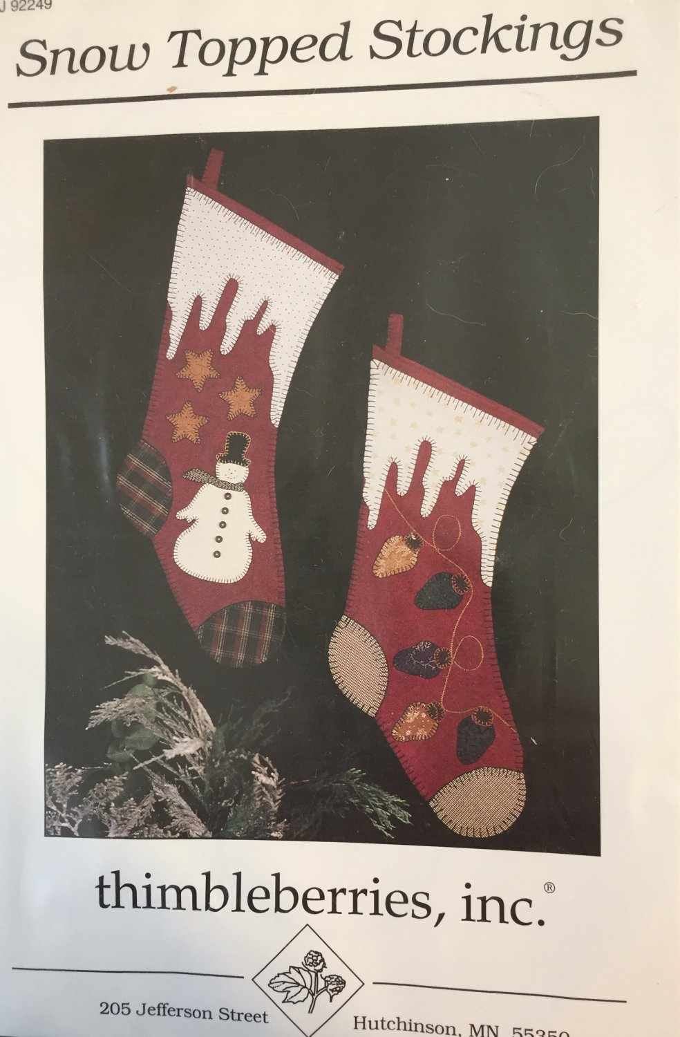 Christmas Snow Top Stockings Thimbleberries Applique sewing pattern