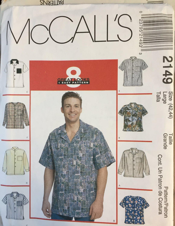 Men's Shirt Sewing pattern McCall's 2149 Sewing Pattern Men's Button-Down Shirts size 42 44