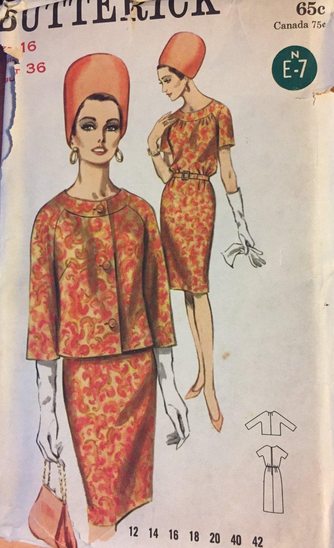 Butterick 3550 Pattern 1960s Dress & Jacket Suit vintage Size 16 Bust 36  UNCUT