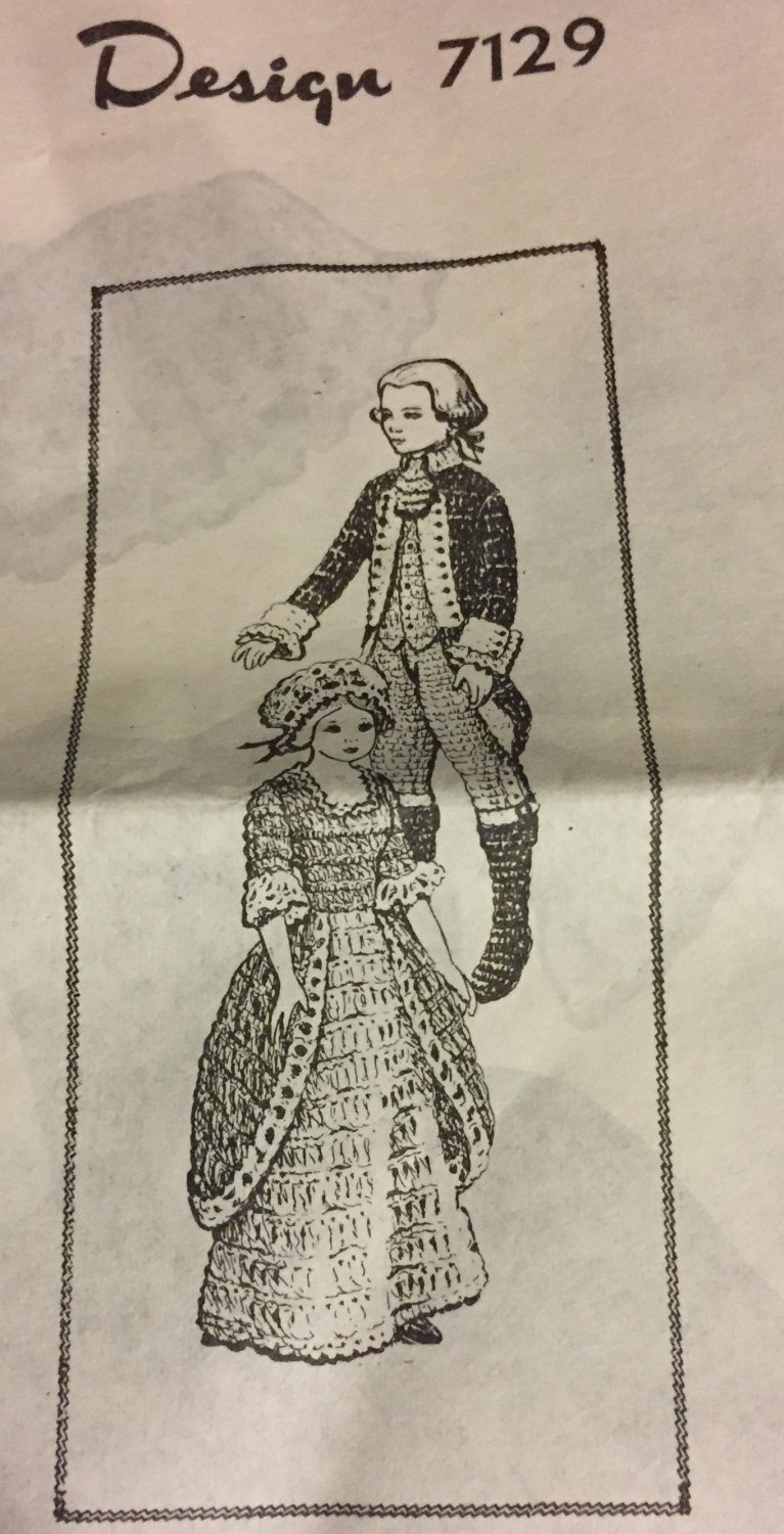 VINTAGE Uncut Mail Order Pattern 7129 George and Martha Washington doll outfits for  12 inch doll