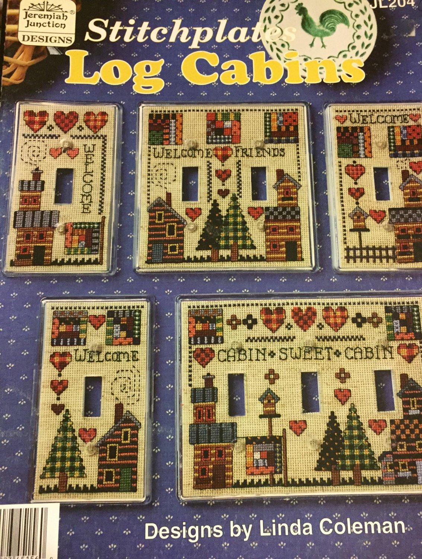 Switchplates Log Cabins Cross stitch Pattern Book JL204  Jeremiah Junction Designs