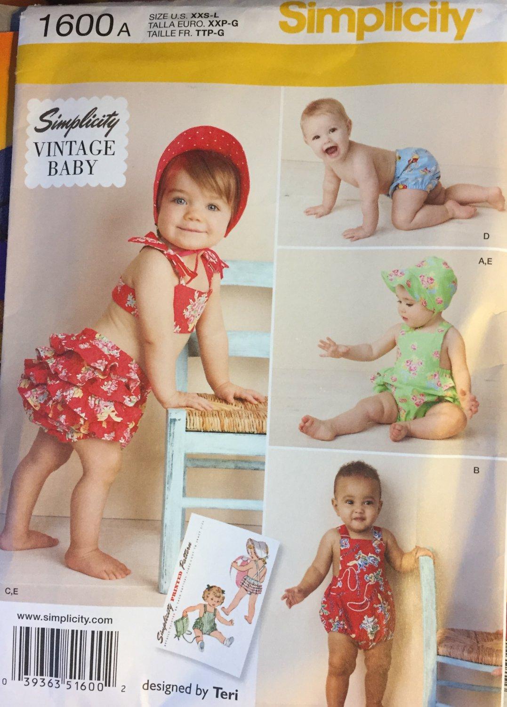 Simplicity 1600 A Baby Pattern Babies' Vintage Romper Sundress Bikini