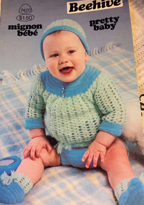 Baby Babies Infants Sweaters  Patons Pretty  Knitting Crochet pattern 7420 Kitten hat for baby