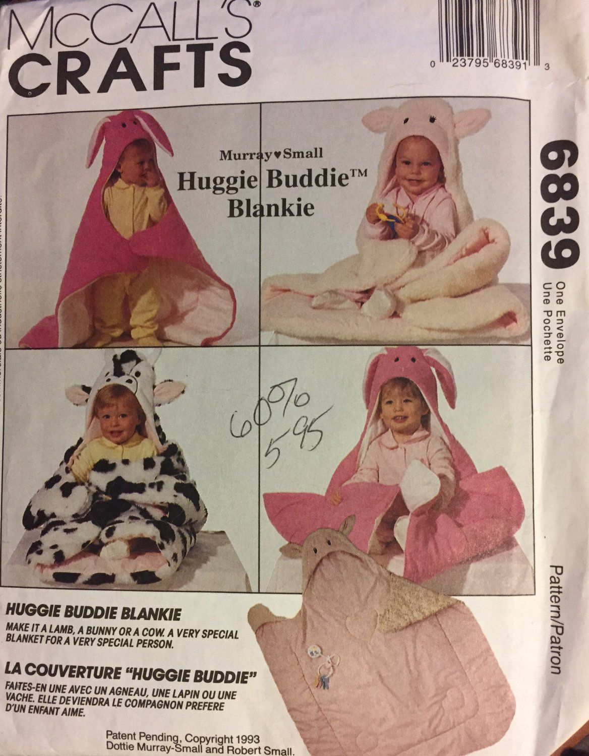 McCall's Crafts Sewing Pattern 6839 Murray Small Design Huggie Buddie Blankie Lamb, Bunny or Cow