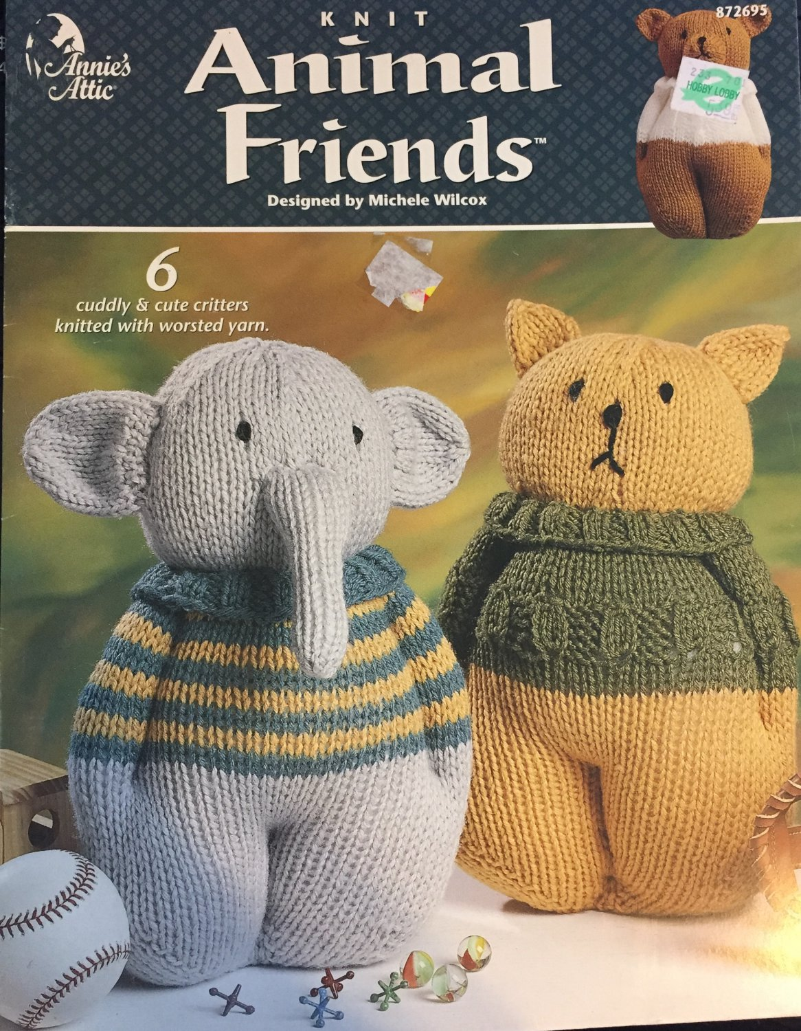 Annie's Attic Knit Animal Friends 6 Designs  872695 knitting pattern
