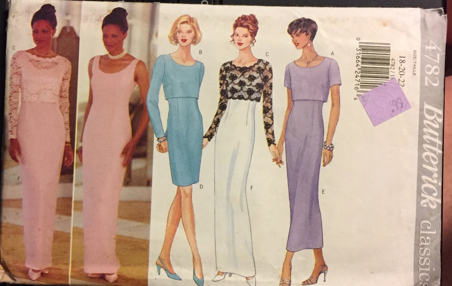 Butterick 4782 Misses evening, prom gown  Size 18 20 22 Sewing Pattern