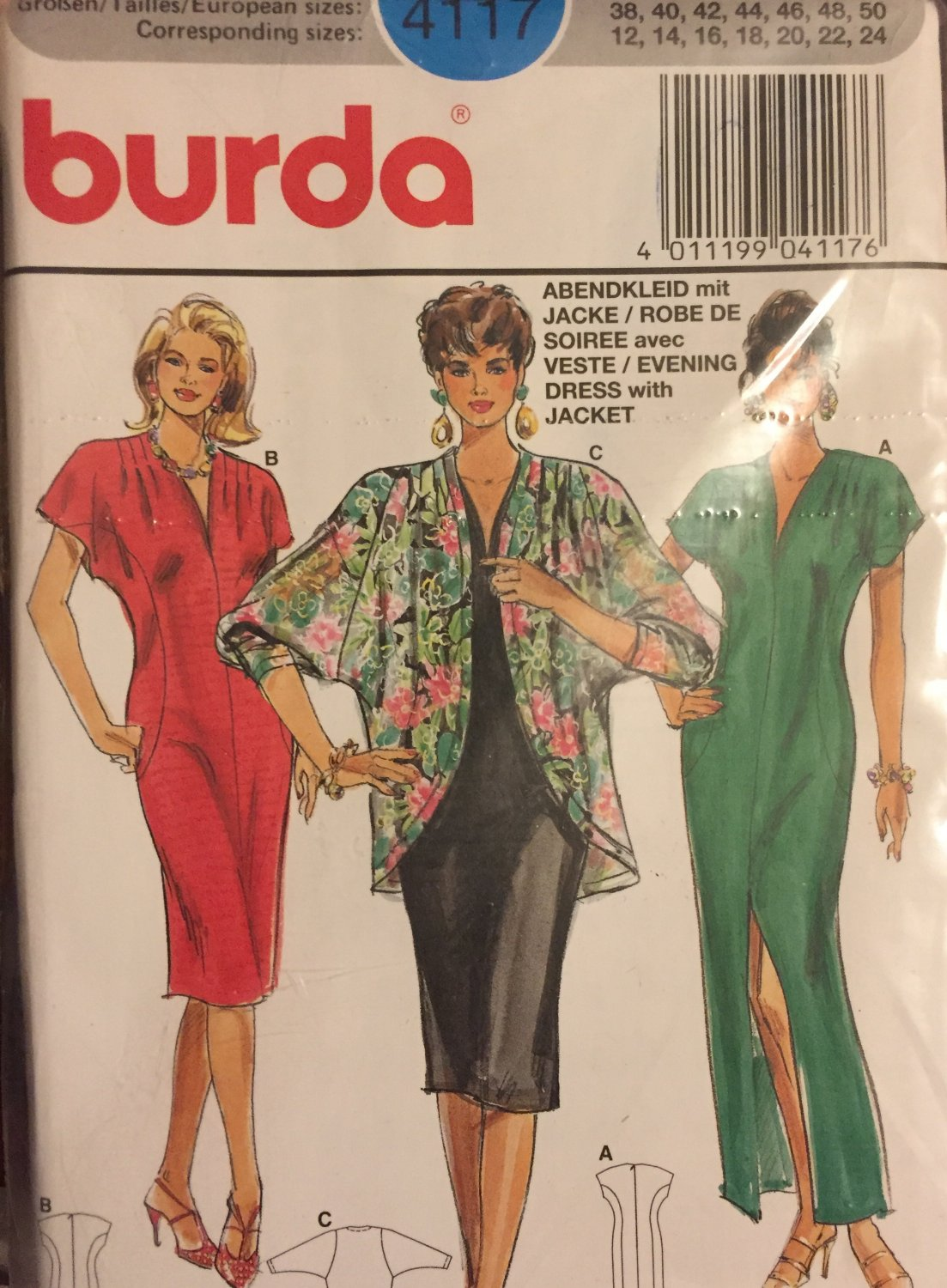 SOLD OUT Burda 4117 Tunic Dress Straight Skirt Raglan Sleeve Jacket, Size 12 - 24 Sewing Pattern,