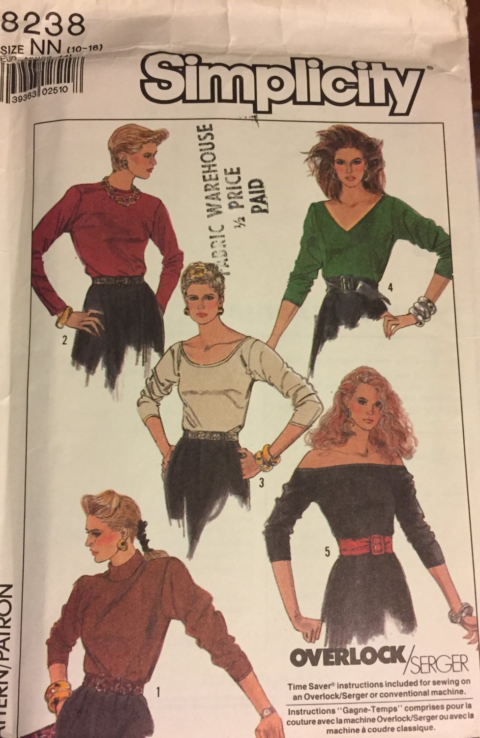 Simplicity 8238 Misses Tops  For Stretch Knits only  Sewing Pattern size NN 10-16