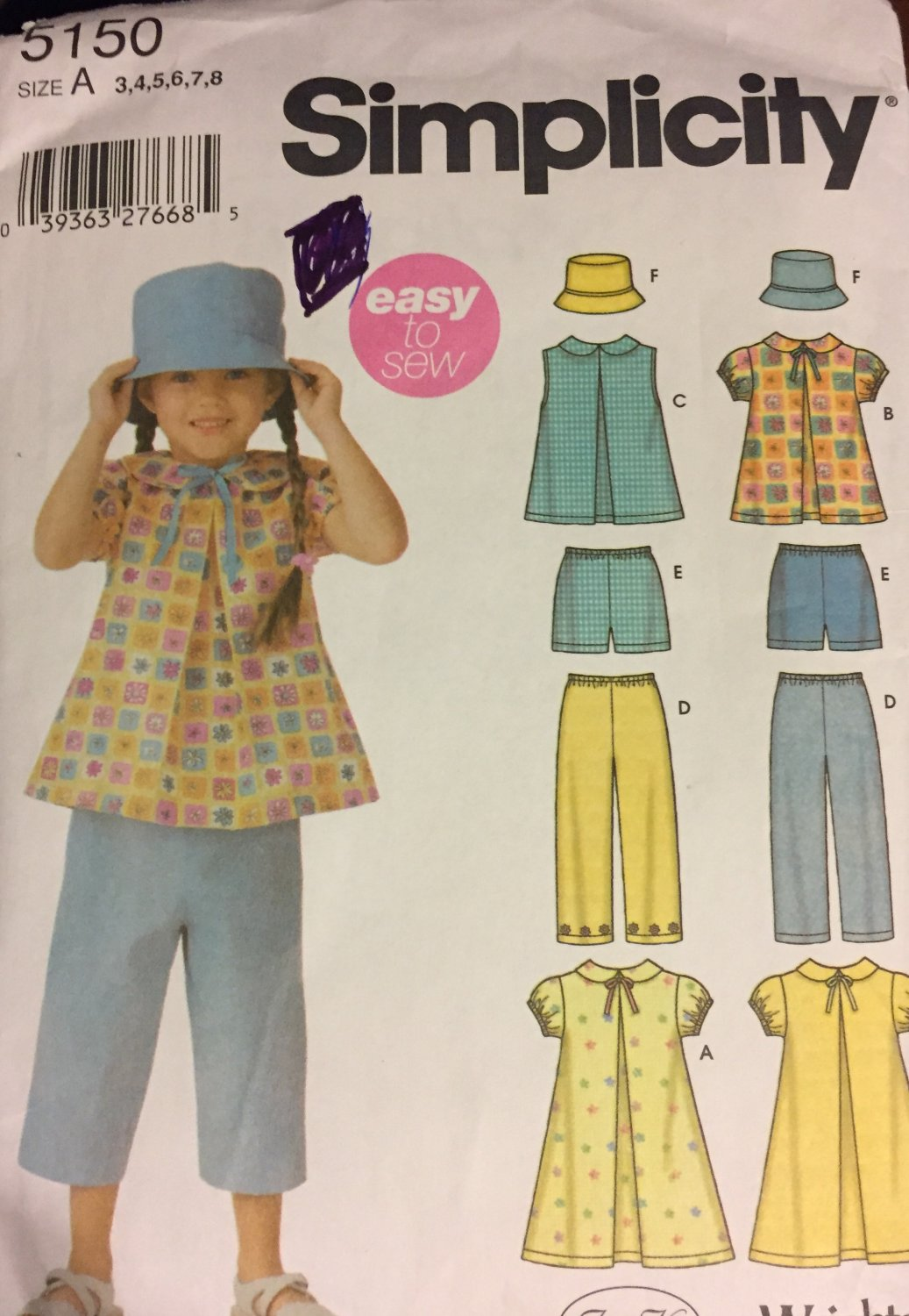 Simplicity 5150 Toddler Child Girl Dress hat pants shorts tops Sewing Pattern Size 3 - 8