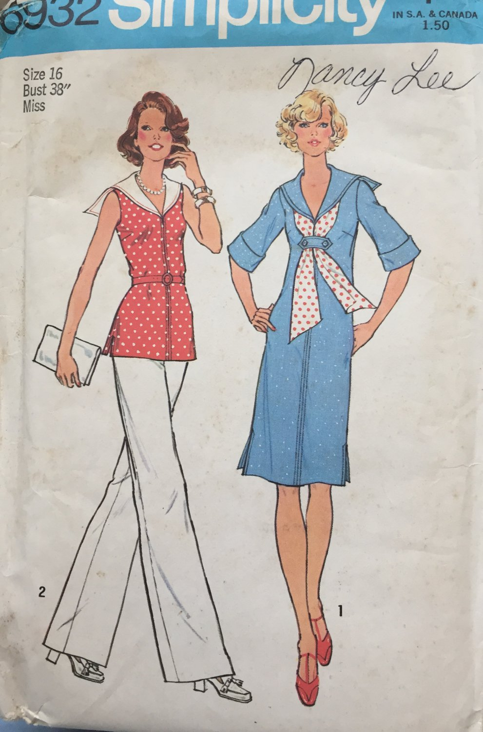 1970s Nautical Dress or Top with Scarf and Pants Simplicity 6932 Sewing Pattern Size 16 Bust 38