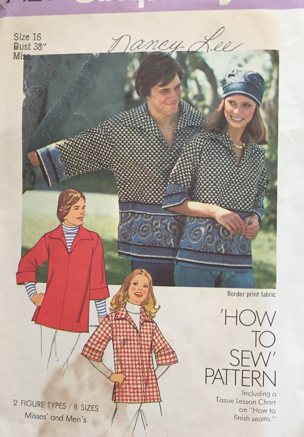 Misses Pullover Shirt Simplicity 7121 Vintage Sewing Pattern Size 16  Bust 38""