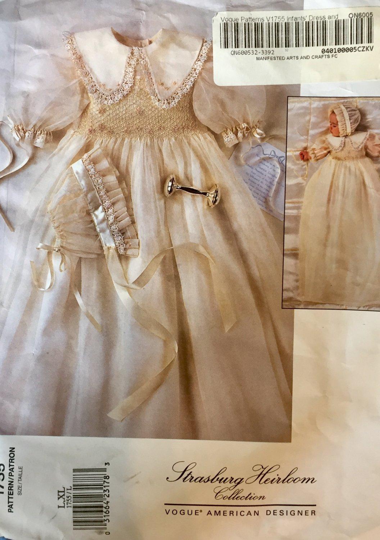 Vogue 1755 Smocked Infant Christening Dress Bonnet STRASBURG HEIRLOOM COLLECTION