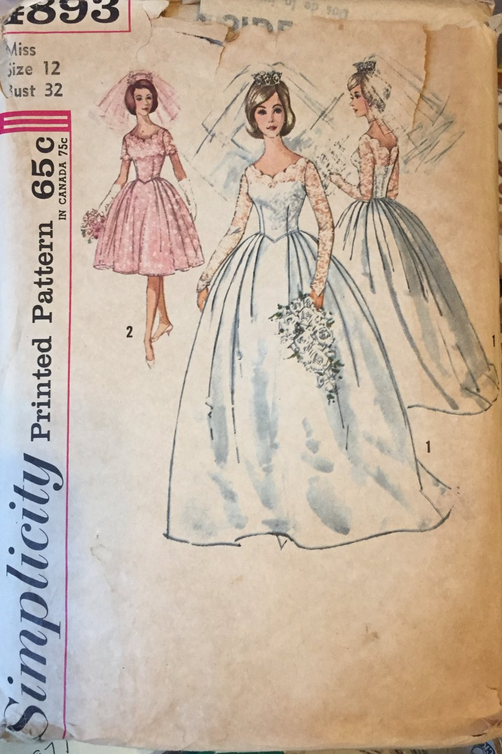 """1960's Simplicity 4893 Wedding Gown Sewing Pattern Size 12 bust 32"""""""