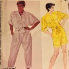 McCall's 2492 Vtg 80s Loose Fit Jumpsuit Romper Collar Belt Roll Up Cuffs Sewing Pattern Size 8