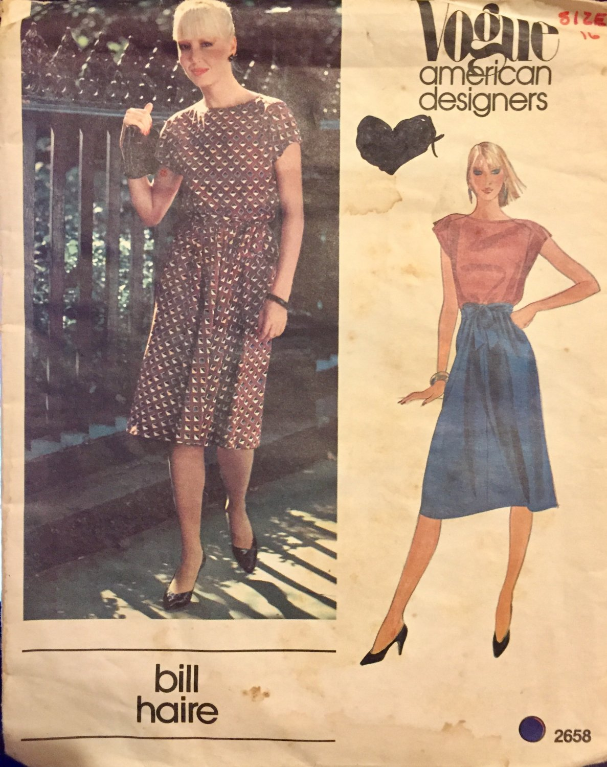 Vogue 2658 American Designer Bill Haire sewing pattern size 16 misses dress