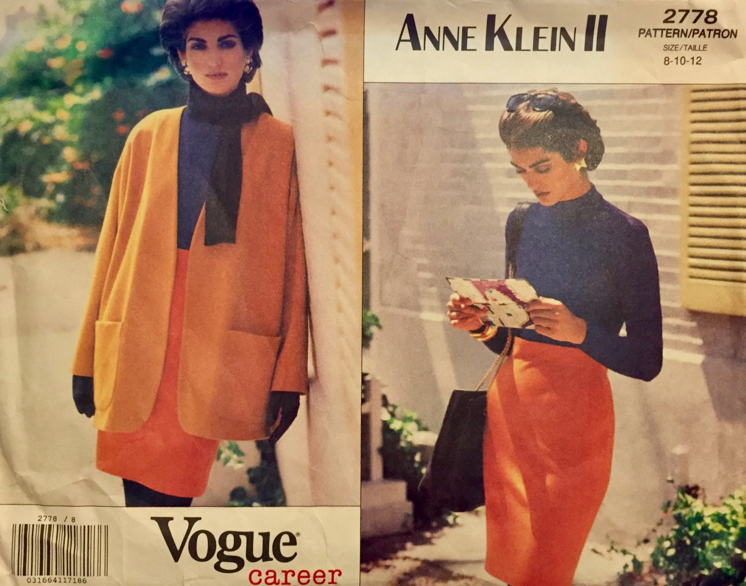 Vogue 2778 Anne Klein II sewing pattern size 8 10 12 Career Skirt,  Bodysuit and Jacket