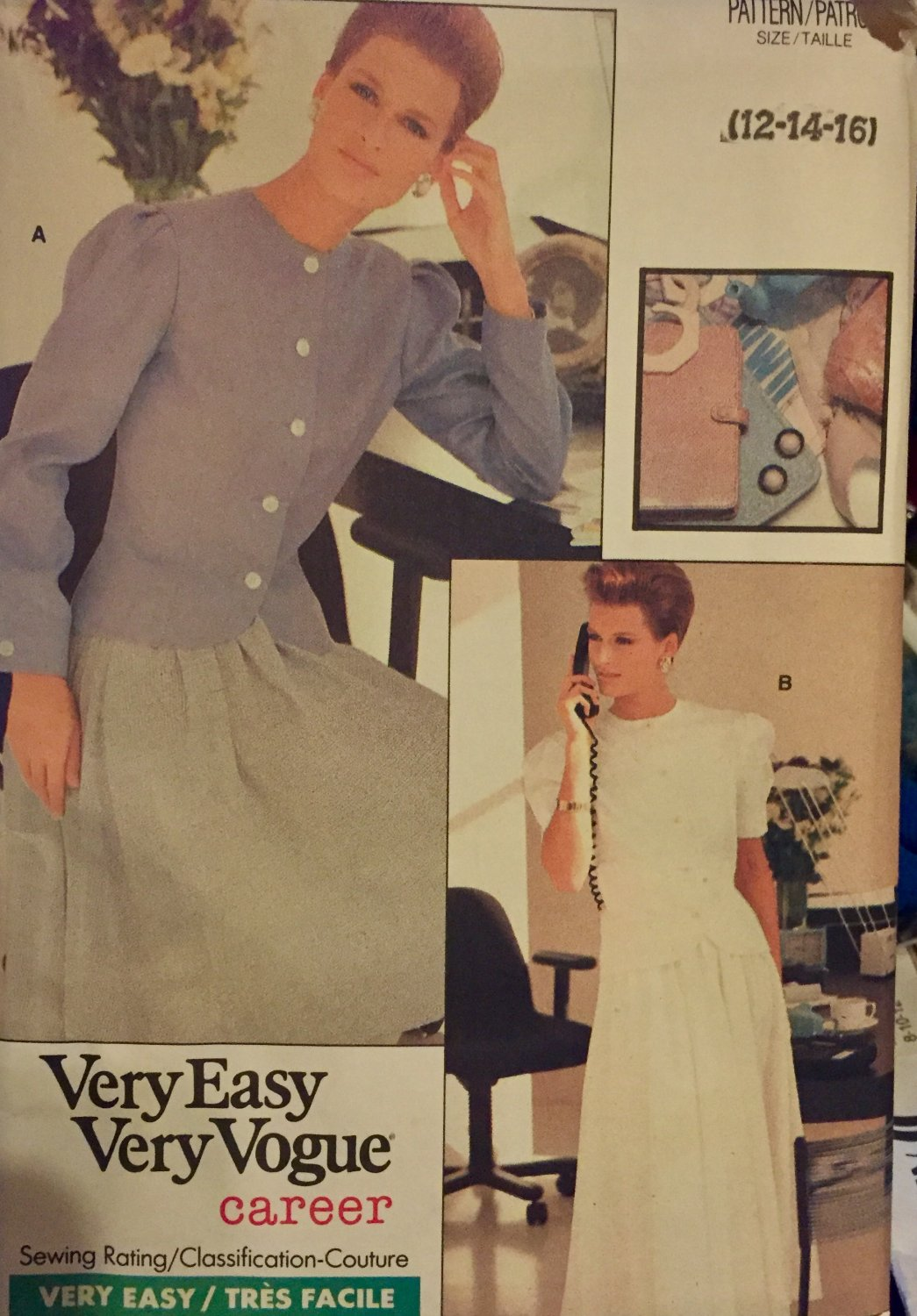 Vogue 7119 sewing pattern size 12 14 16 Misses Top and Skirt Career