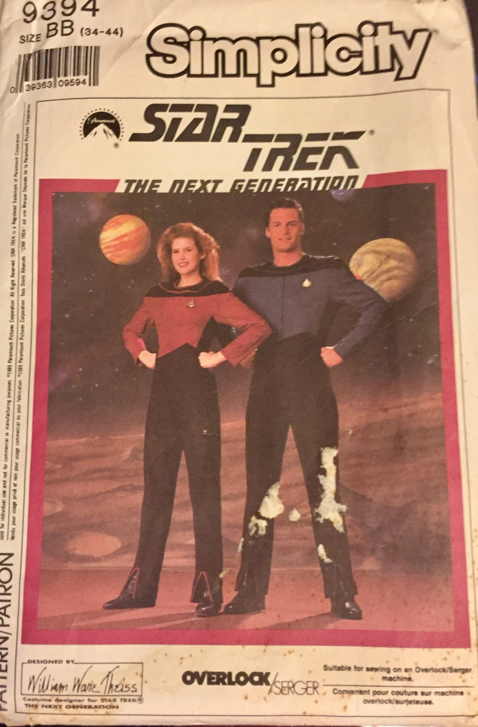 """Simplicity 9394 Adult Costume sewing pattern Star Trek Next Generation Size 34"""" - 44"""" chest"""