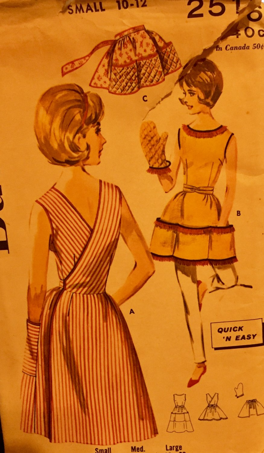 Butterick 2516 Quick n' Easy Apron Wrap Around Full Coverage Waist Tied Large Pockets Size 10-12