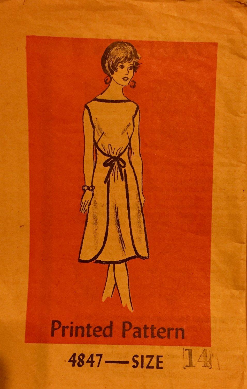 Mail Order Anne Adams Sewing Pattern 4847 Wrap around dress Size 14
