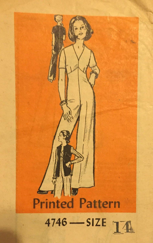 Mail Order Anne Adams Sewing Pattern 4746 Jumpsuit Vest Size 14