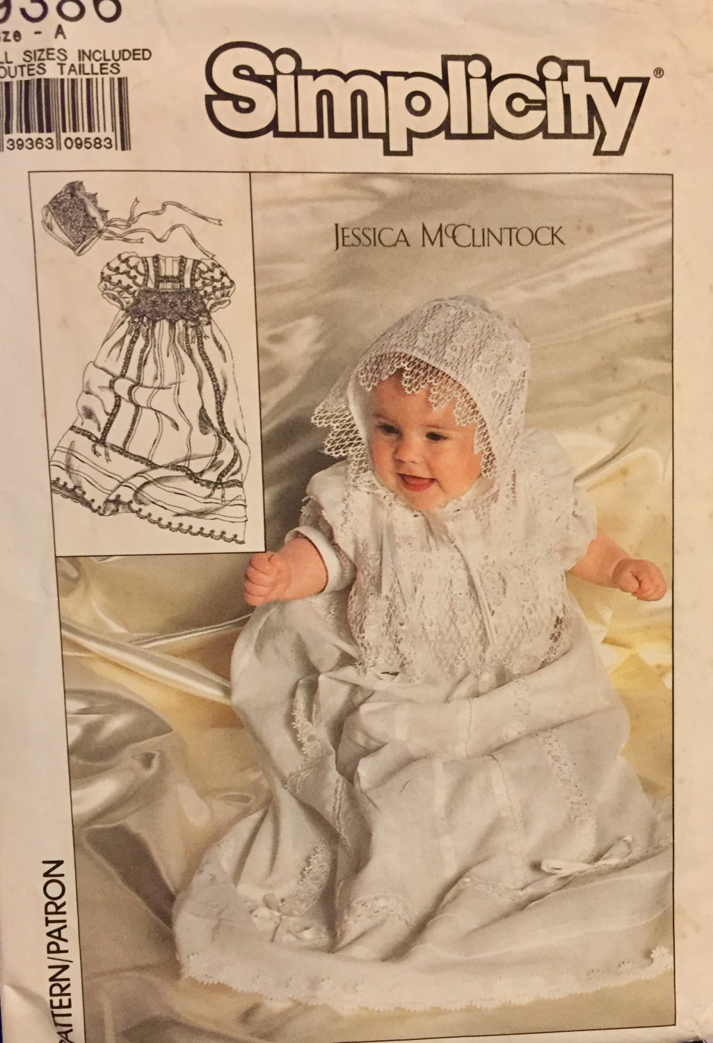 Simplicity Pattern 9386: Babies� Christening Gown, Slip and Hat. Jessica McClintock. Sizes 0- 12M