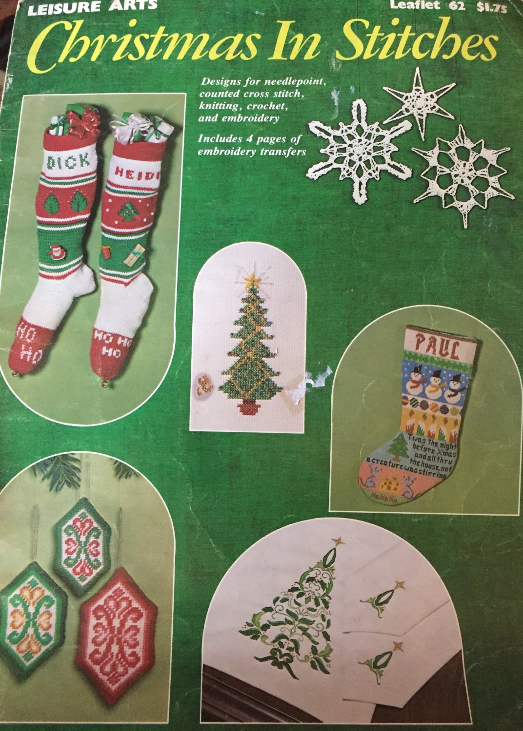 Christmas In Stitches Leisure Arts Crochet 62 Needlepoint, Knitting, cross stitch Embroidery