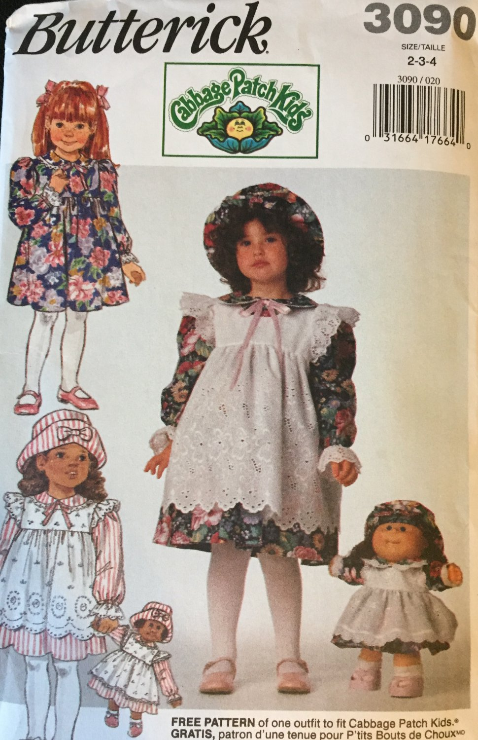 Butterick Sewing Pattern 3090 Girls' Dress, Pinafore, Hat, Doll's Clothes Size: 2-3-4