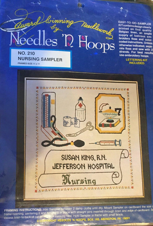 Needles 'N Hoops Nurse Sampler Cross Stitch Embroidery Kit Nursing #210