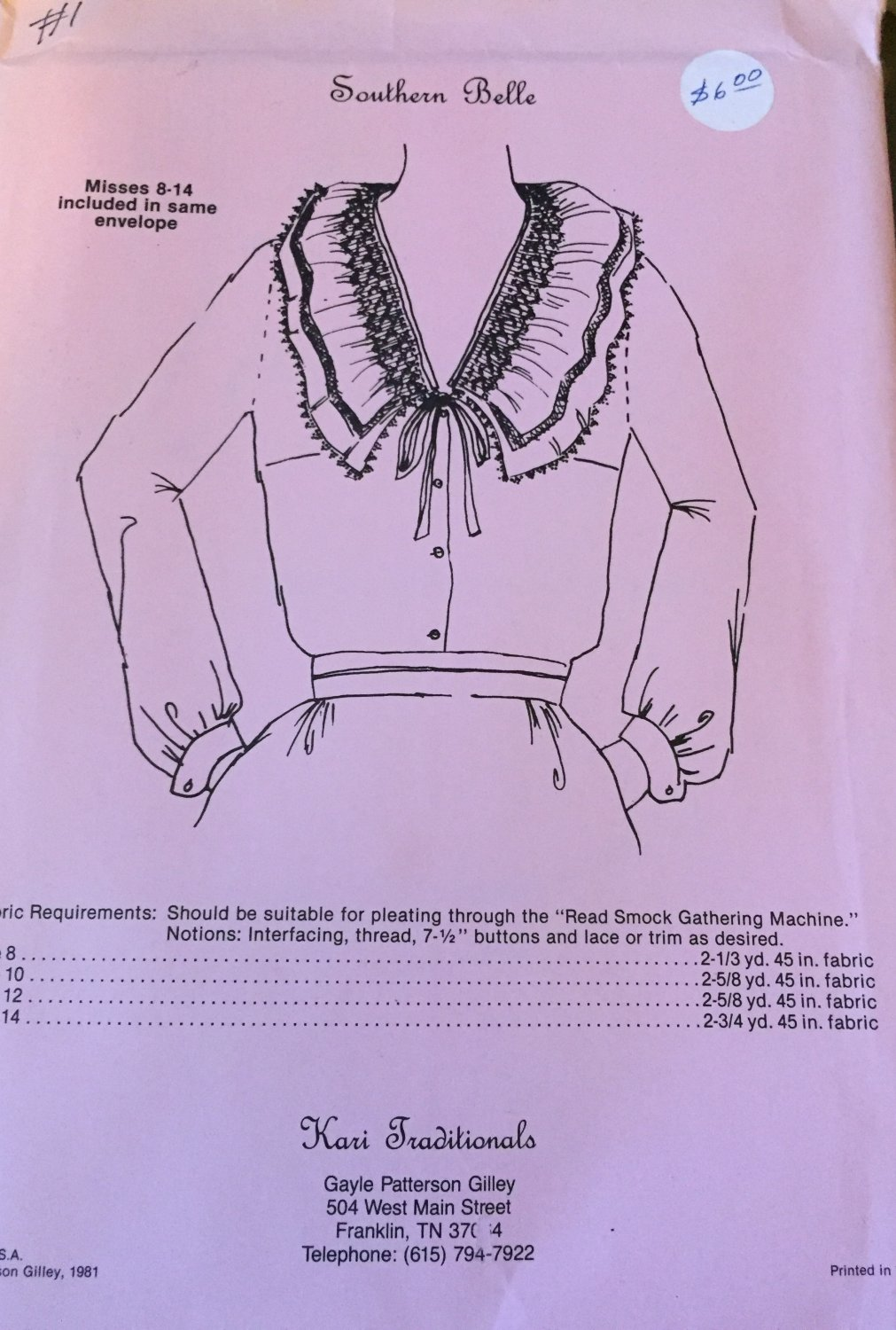Southern Belle Misses 8-14 Blouse with smocked neckline Kari Traditionals Sewing Pattern