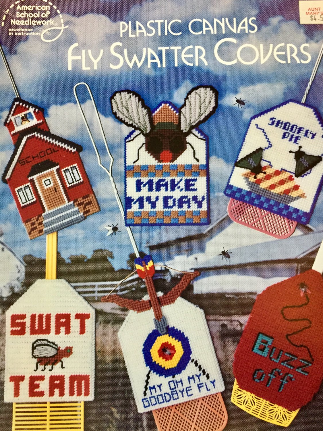American School of Needlework 3074 Fly Swatter Covers  Plastic Canvas Pattern