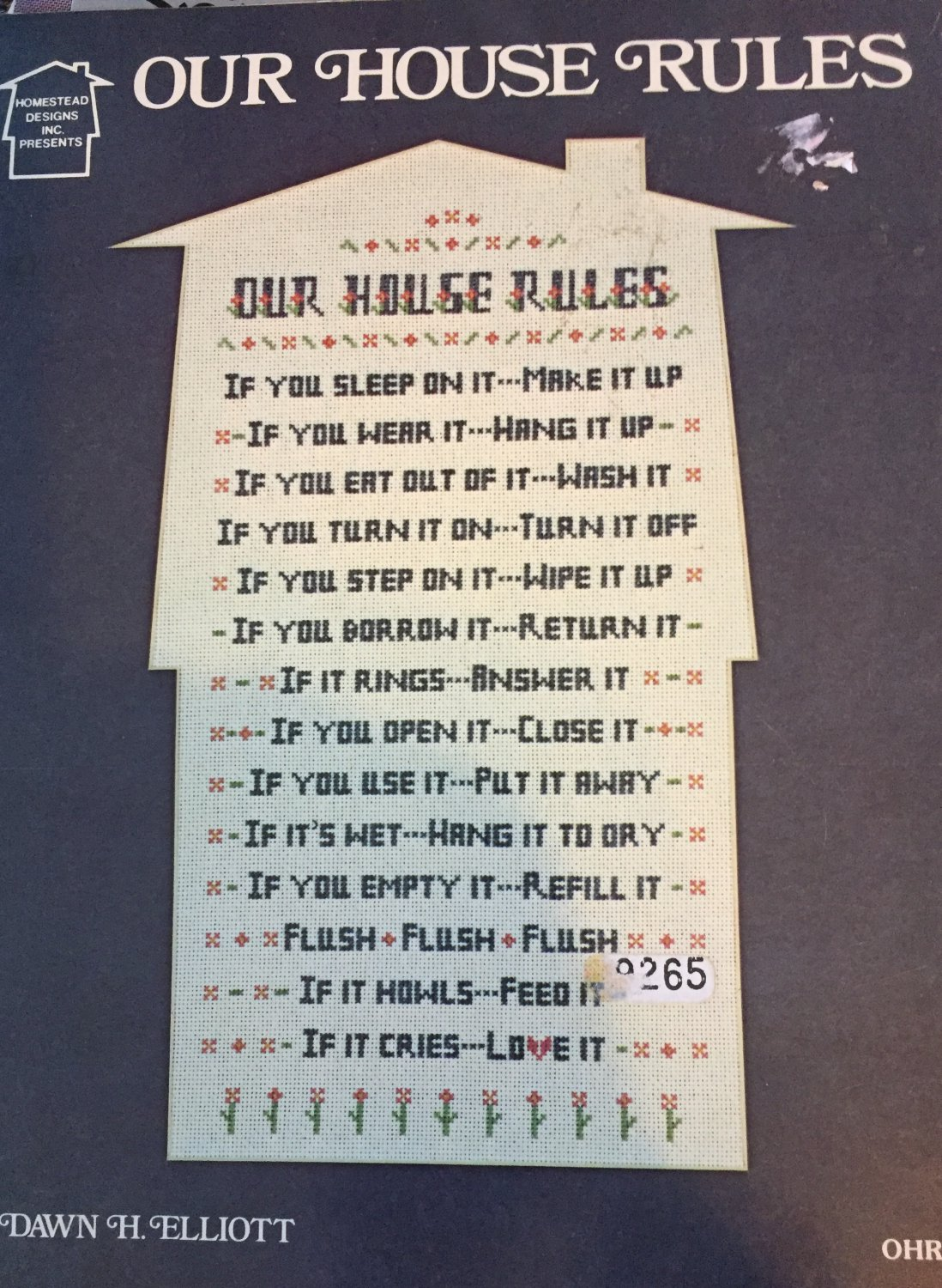 Our House Rules Cross Stitch Chart By Homestead Designs