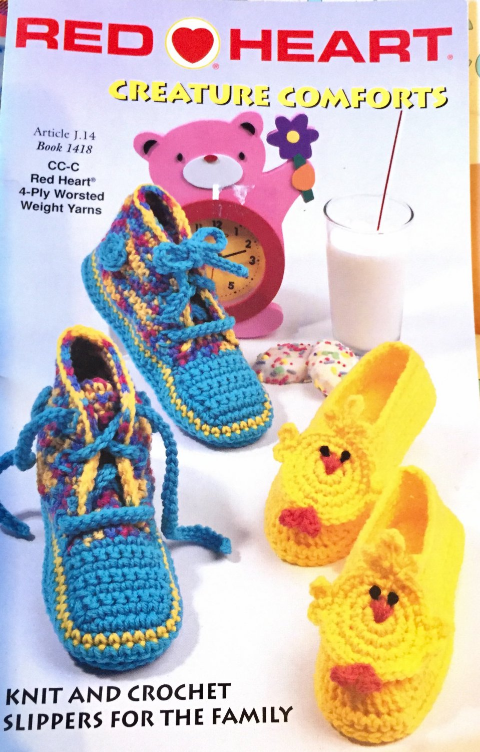 Red Heart Creature Comforts-Slipper Pattern Book-Knit and Crochet Slippers For The Family