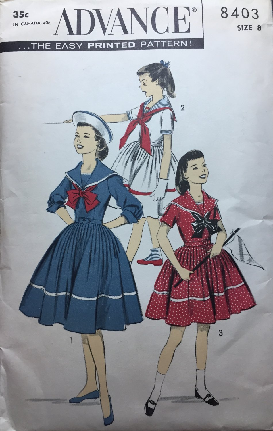 Advance 8403 Child's Sailor Dress Sewing Pattern Size 8