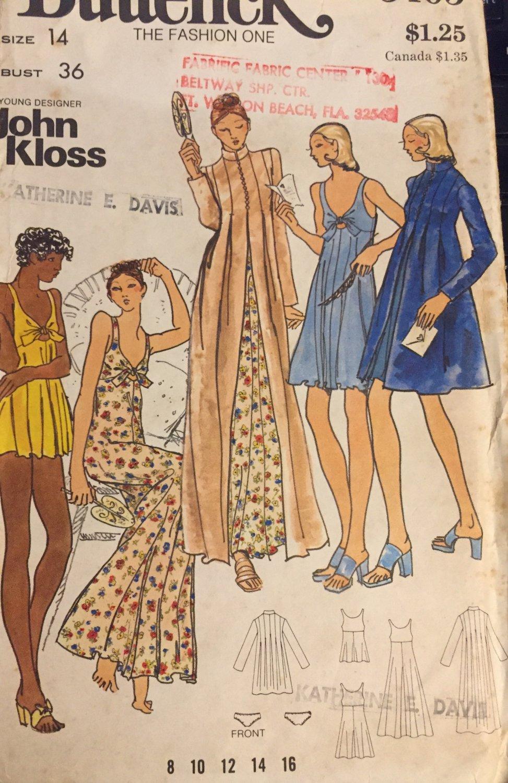 Butterick 3405 John Kloss Misses Nightgown Baby Dolls Bikini Panties Robe Pattern Size 14