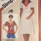 Misses Sailor Style Top or Pullover Dress Size 12 Vintage 1980s Jiffy Simplicity Pattern 5844