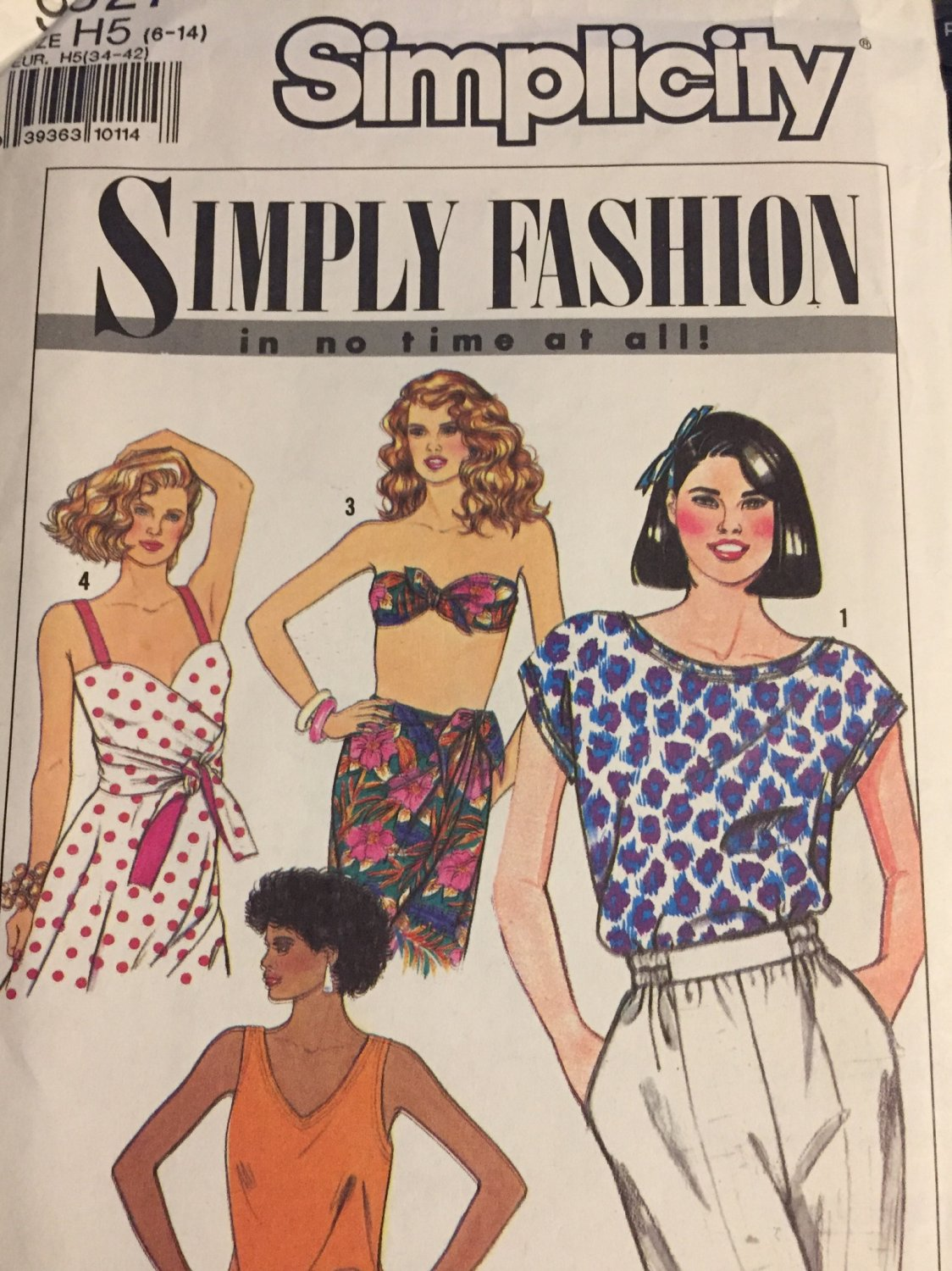 Simplicity 9627 Misses Tops Bandeau and Reversible Wrap Top Sewing Pattern - Sizes 8-14