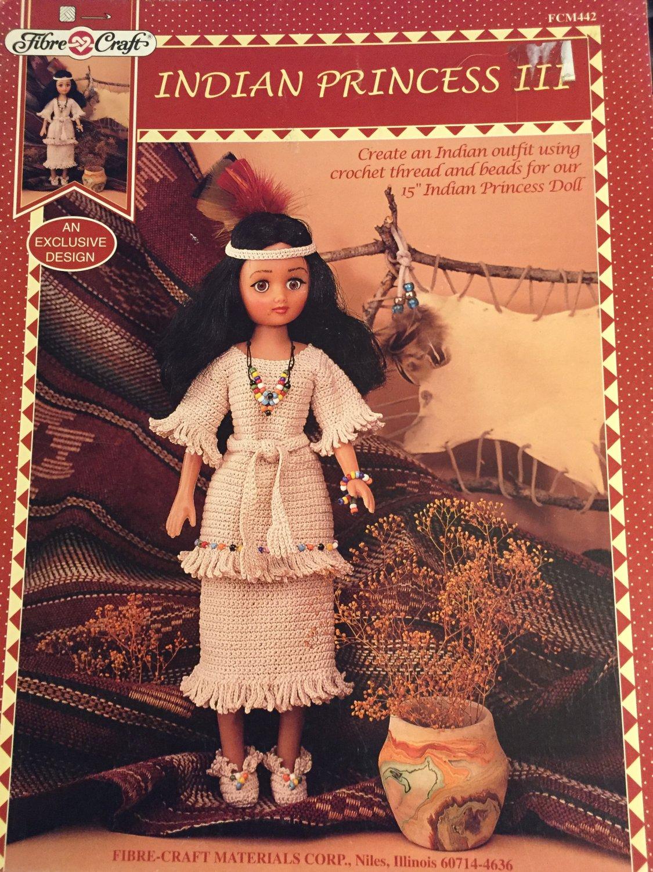 Fibre Craft Crochet Pattern Indian Princess III doll clothes