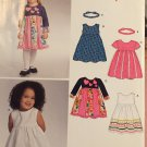 New Look 6745 Pattern Girls Sleeveless Long & Short Sleeved Dress Flared Skirt Headband Size 1/2 - 4