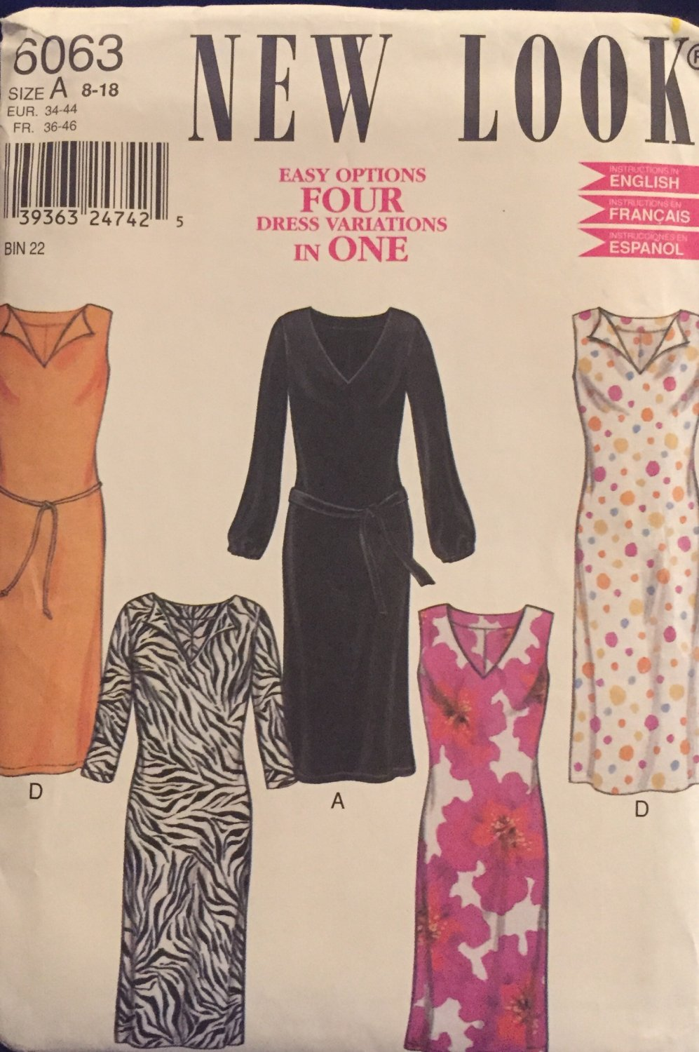 New Look  6063, Misses Dresses, Size 8,10,12,14,16,18 Sewing Pattern