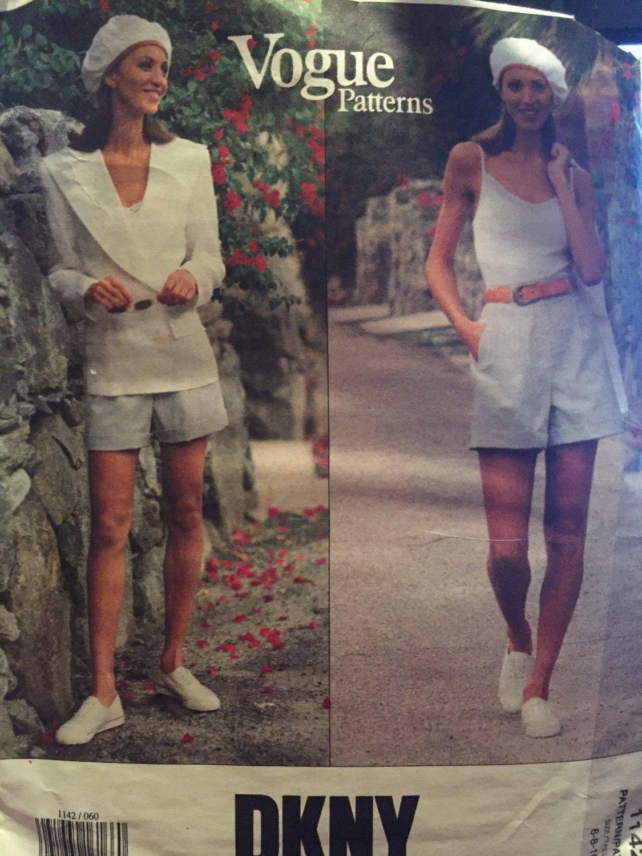 VOGUE 1142 JACKET Bodysuit Shorts Pattern DKNY Donna Karan American Designer Size 6 8 10