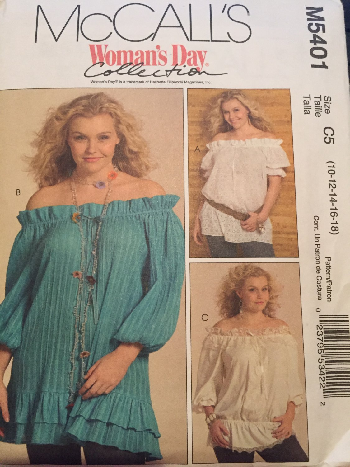 McCALL'S #M5401  LADIES OFF SHOULDER RODEO -WESTERN STYLE TOP PATTERN Sizes  10-18