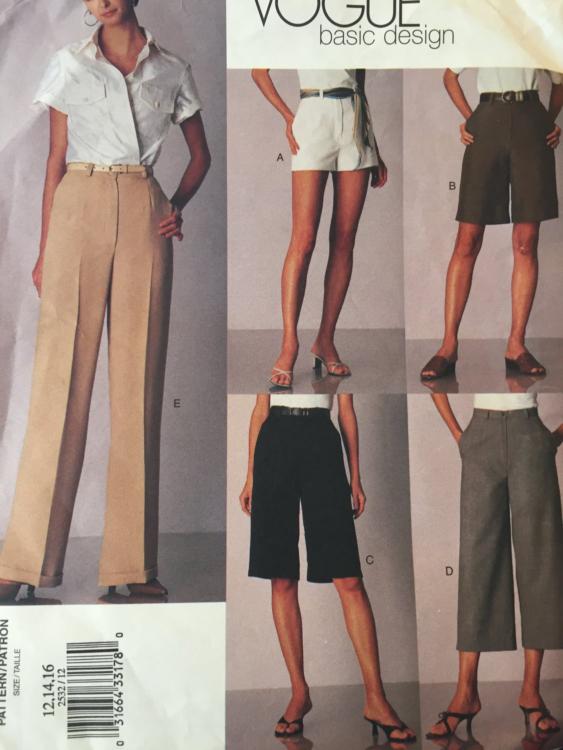 Vogue 2532 Sewing Pattern  Slacks to Shorts Basic Design size 12 14 16