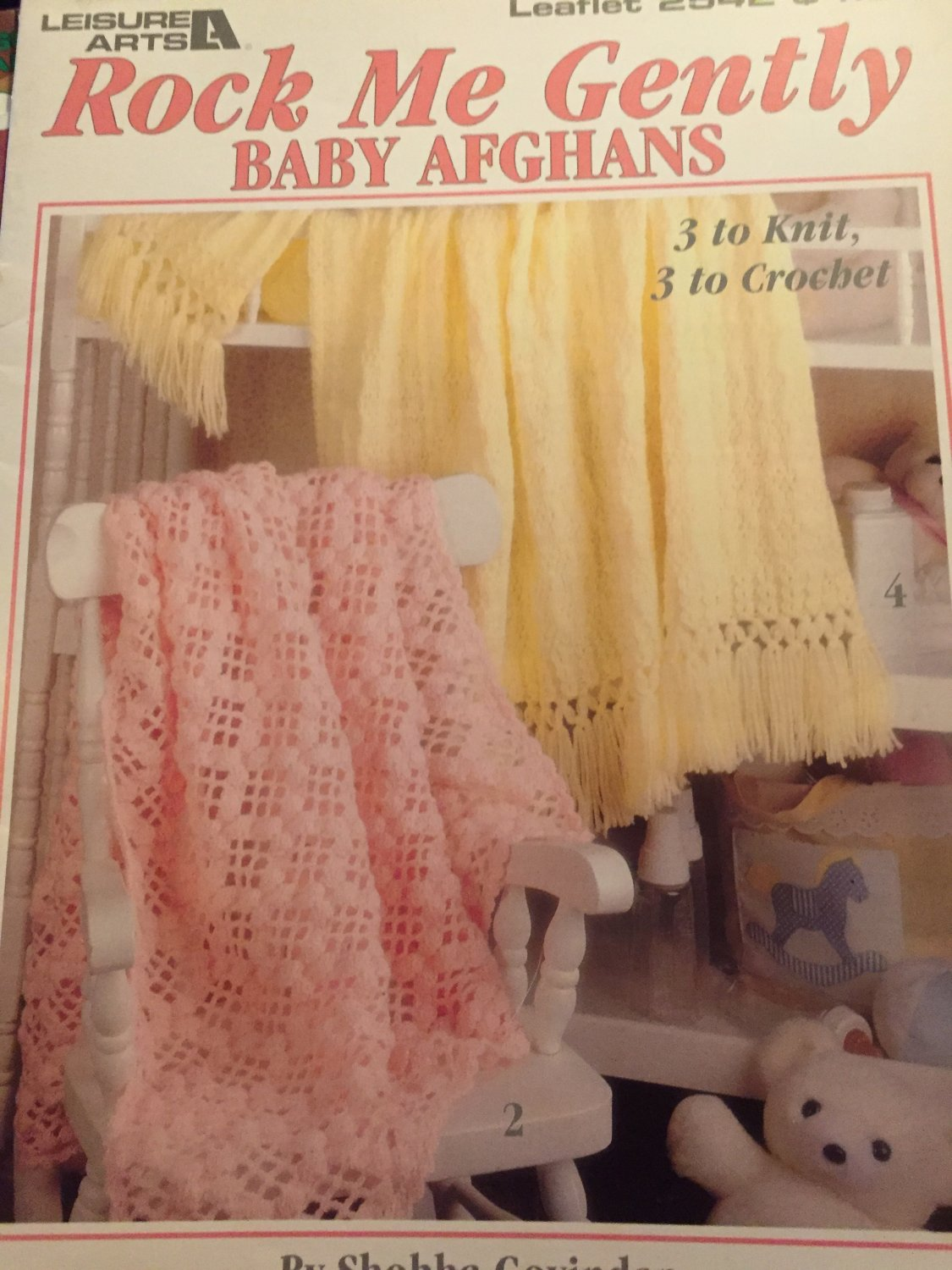 Leisure Arts #2542 Rock Me Gently Crochet and Knit Baby Pattern Afghans