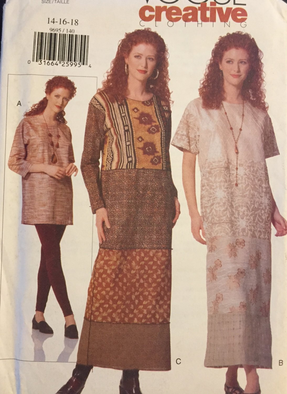 Easy VOGUE Creative 9695 Dress, TUNIC & LEGGINGS Pattern sz 14 16 18